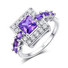 Load image into Gallery viewer, Silver Plated Square Cut Austrian Crystal Ring