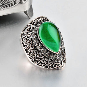 Water Drop Shaped Green Opal Big Ring