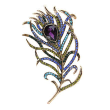 Load image into Gallery viewer, Crystal Peacock Feathers Brooch
