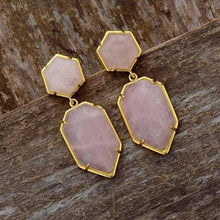 Load image into Gallery viewer, Geometric Natural Stone Earrings
