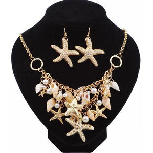 Boho Starfish Faux Pearl Shell Necklace