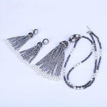Load image into Gallery viewer, Boho Silvery Glass Bead Tassels