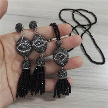 Load image into Gallery viewer, Boho  Evil Eye Charm Black Bead Tassel Stud Earrings