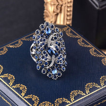 Load image into Gallery viewer, Blue Rhinestone Dragonfly Ring