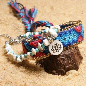 2 Pcs Set Lotus Anklets