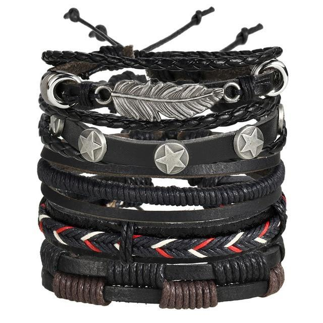 Multi Layer Bracelet Set, Black Stars and Feather