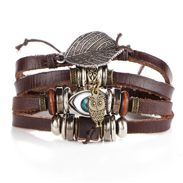 Leaf Eye Owl Leather Bracelet