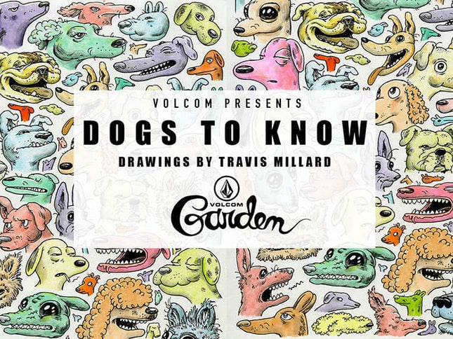 "Volcom presents ""dogs to know"" drawings by Travis Millard at the Volcom garden"