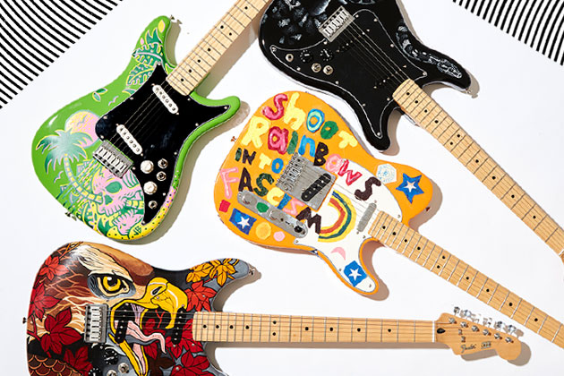 WIN A ONE OF A KIND HAND PAINTED VOLCOM X FENDER ART GUITAR! 4 TO WIN!