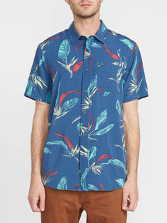 Faxer Floral Short Sleeve Smokey Blue (A0441900_SMB) [F]