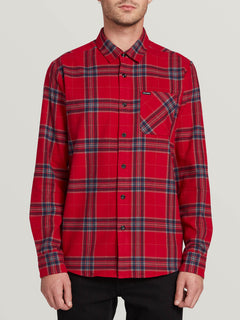 Caden Plaid Long Sleeve Engine Red (A0531906_ENR) [F]