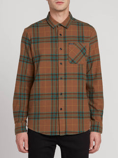 Caden Plaid Long Sleeve Mud (A0531906_MUD) [F]