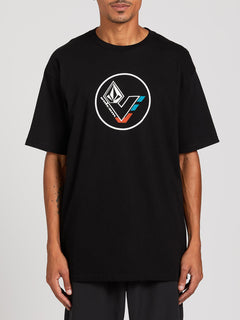 V-Line Short Sleeve Basic Tee - Black