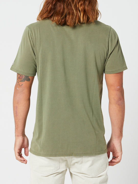 Aus Wash Short Sleeve Tee - Army Green Combo (A4302001_ARC) [B]