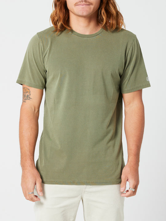 Aus Wash Short Sleeve Tee - Army Green Combo (A4302001_ARC) [F]