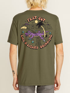 FLAT OUT S/S TEE WASHED ARMY