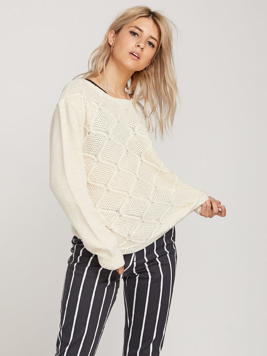 Chained Up Knit Crew - Vintage White