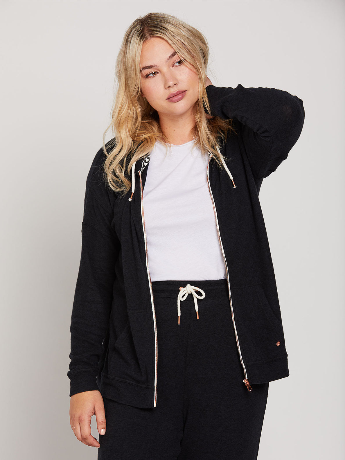 Lived In Lounge Zip Fleece - Black (B3111802_BLK) [029]