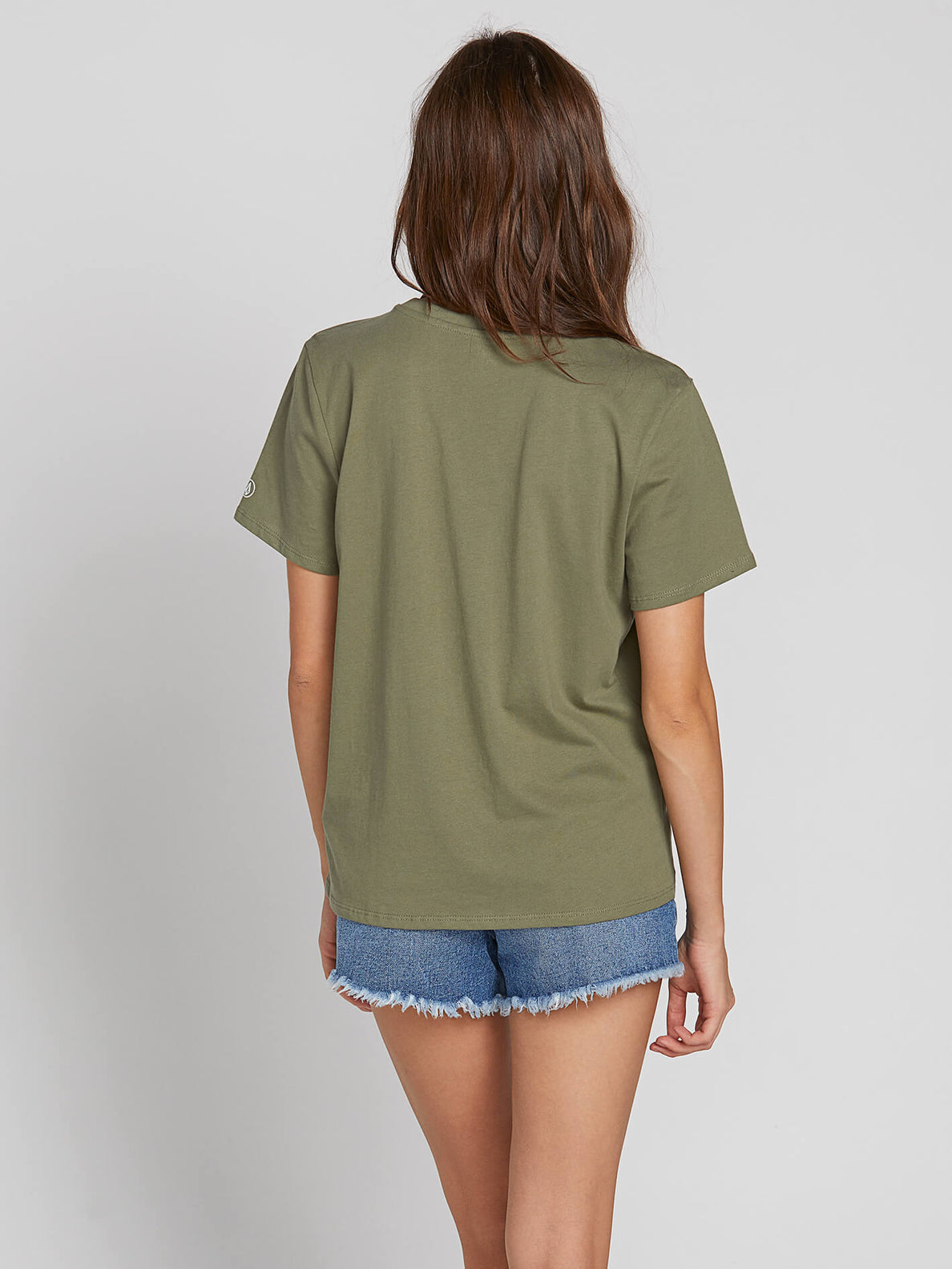 Womens Solid Short Sleeve Tee - Army Green Combo