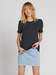 Womens Solid Short Sleeve Tee - Black