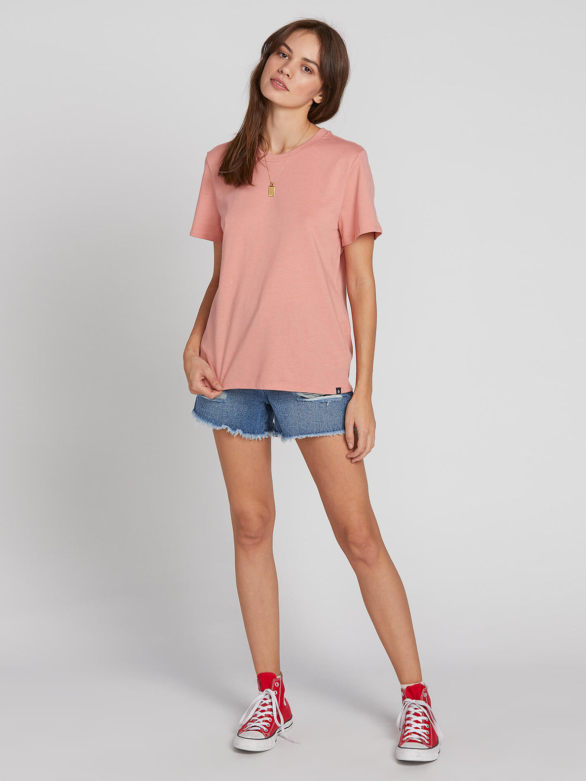 Womens Solid Short Sleeve Tee - Pink