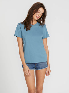 Womens Solid Short Sleeve Tee - Sandy Indigo
