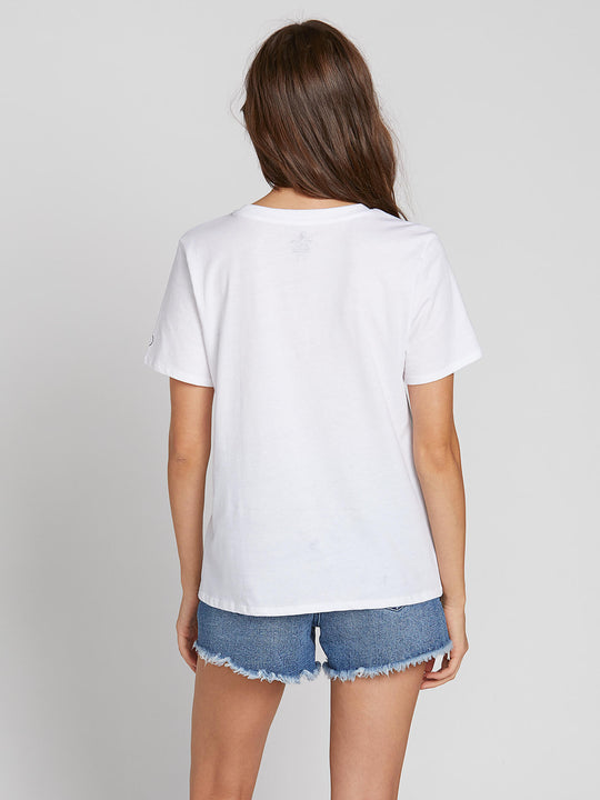 Womens Solid Short Sleeve Tee - White