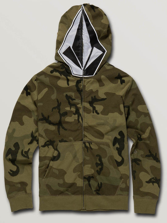 Boys Youth Cool Stone Full Zip Hoodie - Camouflage