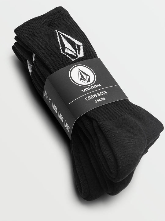 Full Stone Crew Sock 3 Pack - Black
