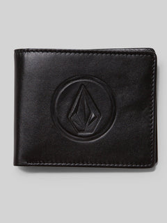 Double Stone Leather Wallet - Black (D7511577_BLK) [F]