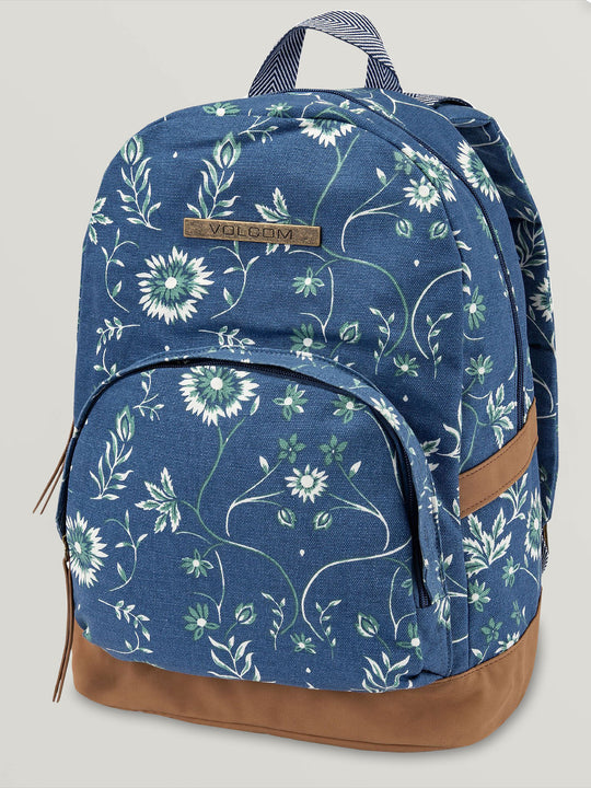 VACATIONS CANVAS BACKPACK CAMPER BLUE