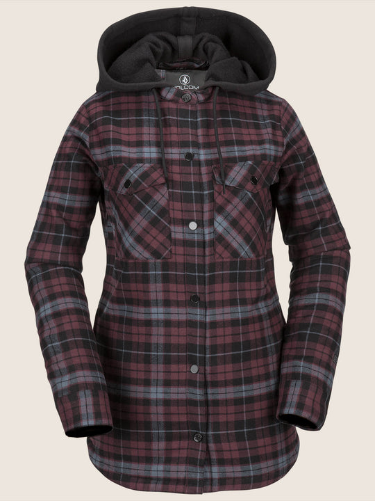 Hooded Flannel Jacket - Merlot