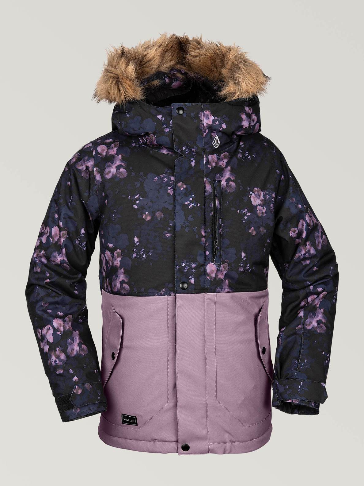 Girls Youth So Minty Insulated Jacket - Black Floral Print
