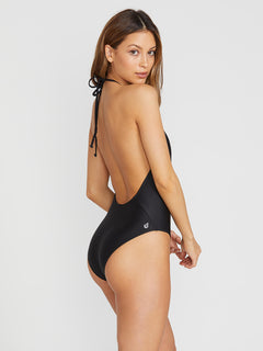 Simply Solid 1 Piece Swimsuit - Black (O3011900_BLK) [B]