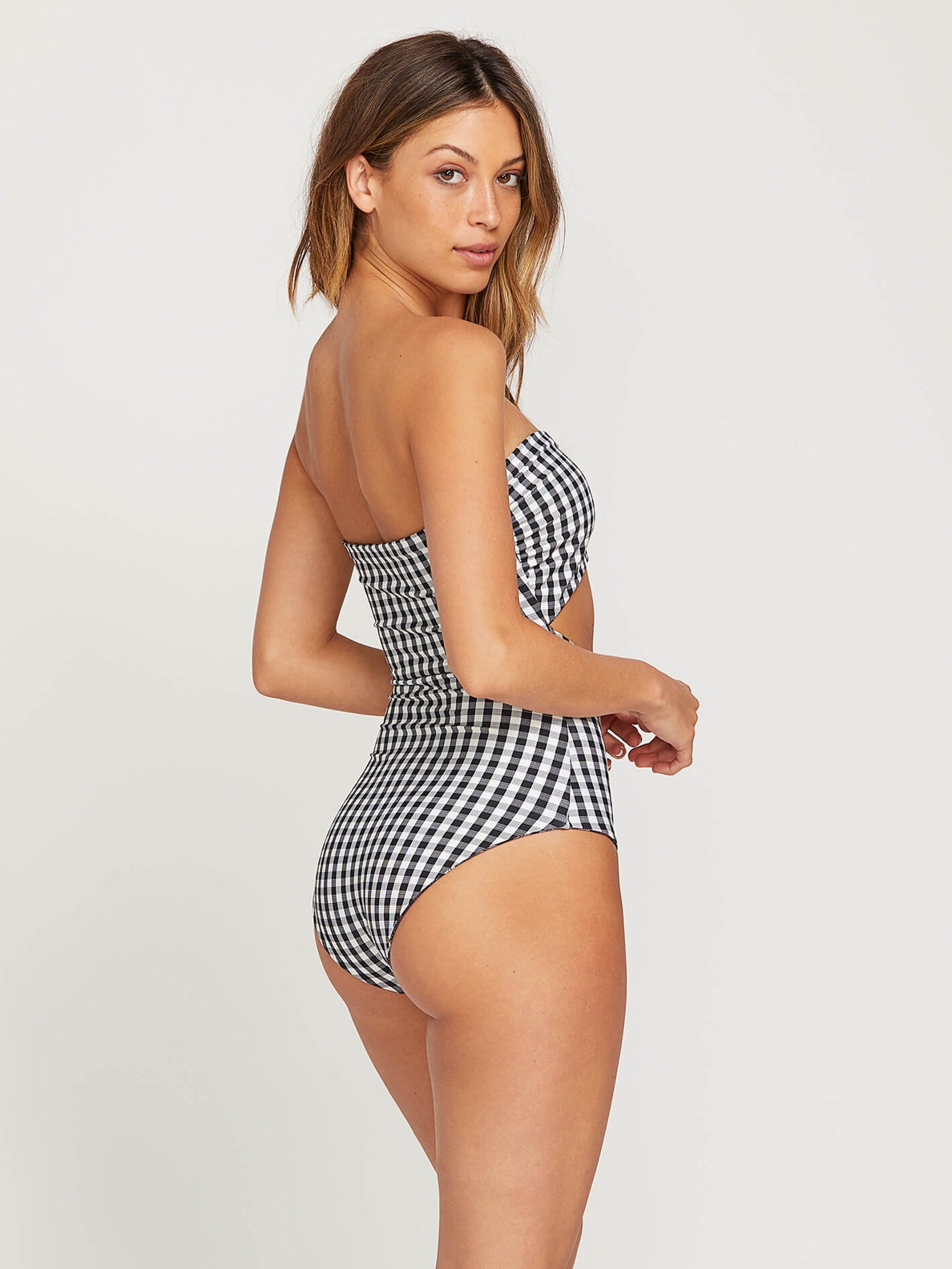 Plaid Attitude 1 Piece Swimsuit - Dark Chocolate