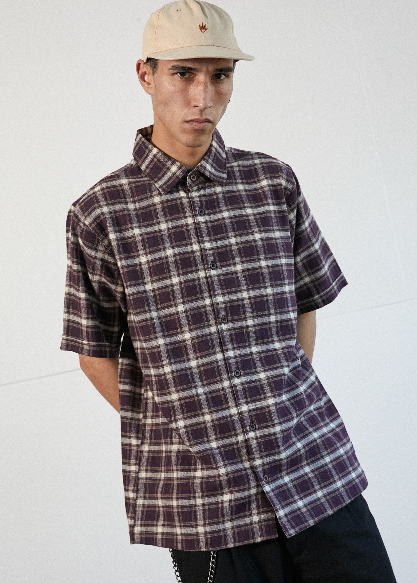 Kemp Hemp Short Sleeve Shirt in Mulberry Check
