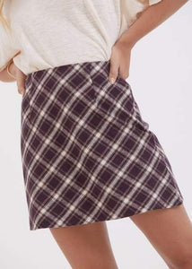Mariah Hemp Bias Cut Skirt in Mulberry Check
