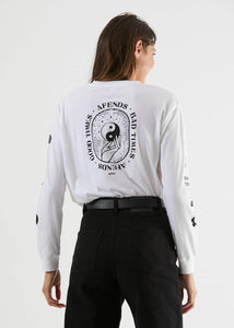 Good Bad Good Boyfriend Fit Long Sleeve Tee in White