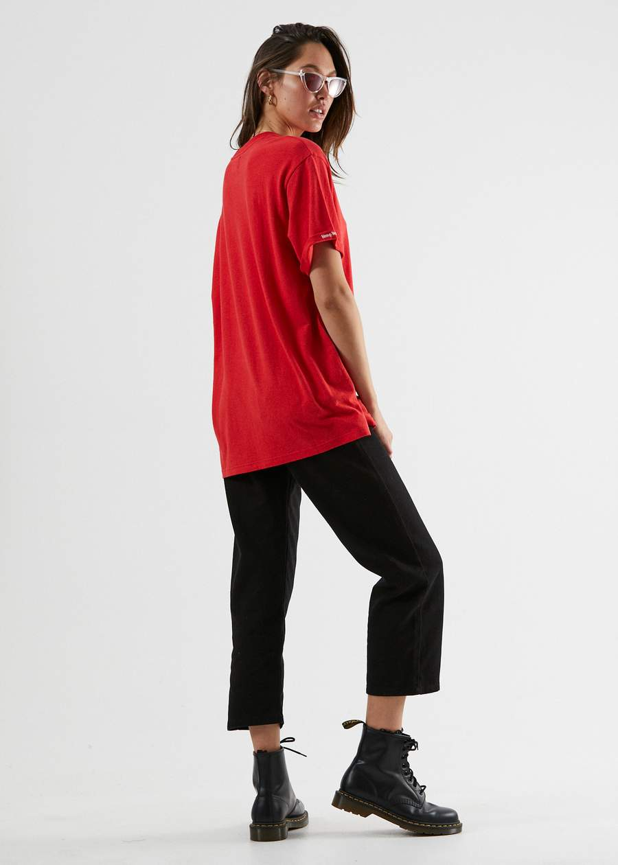 Hemp Revolution Oversized Tee in Red
