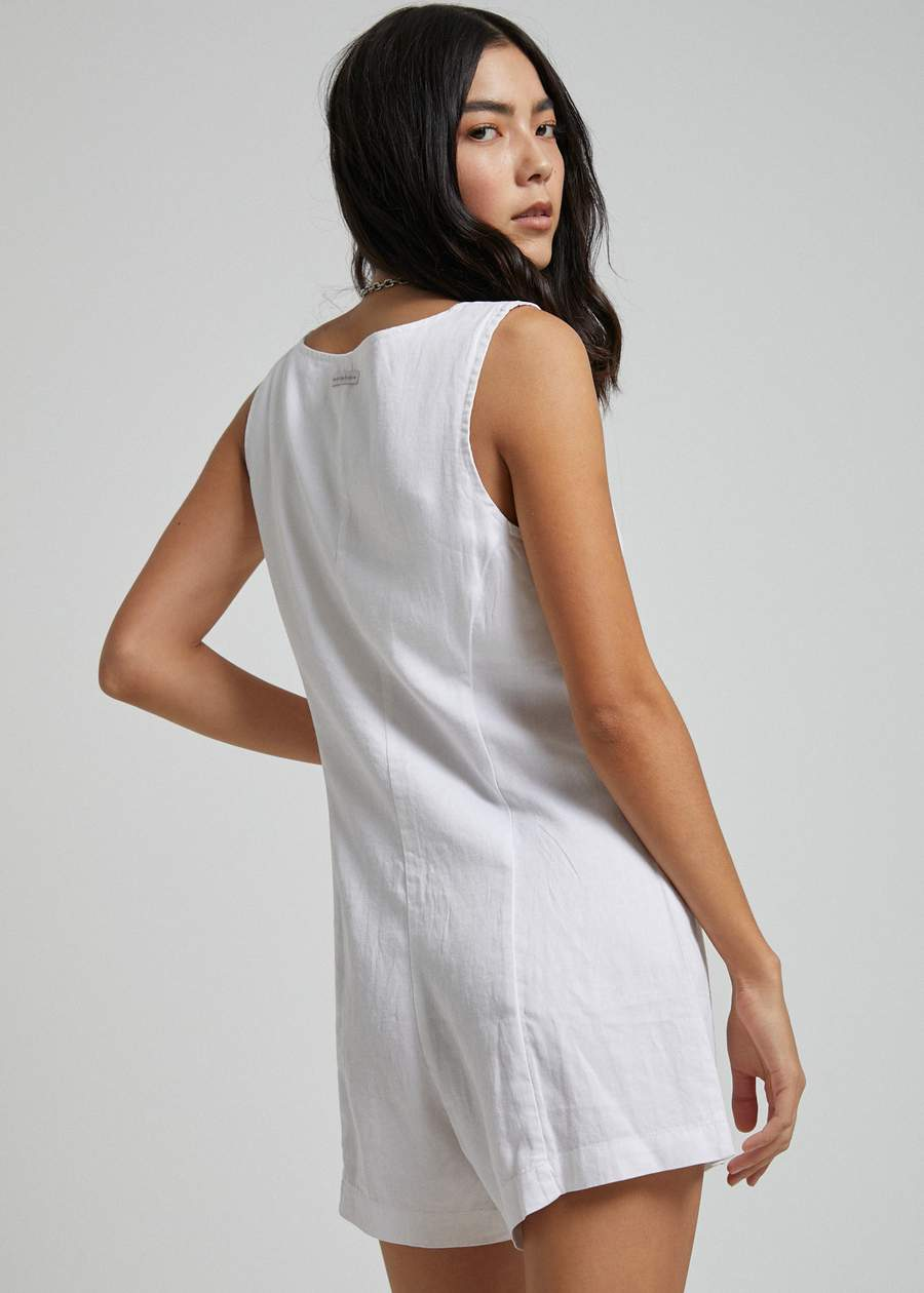 Niko Hemp Playsuit in White