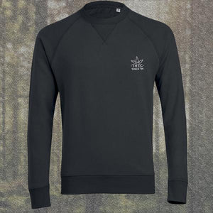 THTC Sweatshirt - Black Low Class Logo Organic Crew Neck