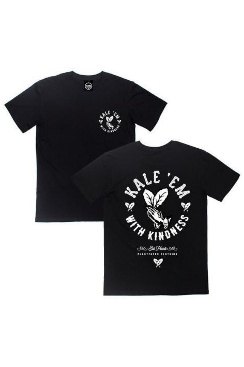 Plant Faced - Kale 'Em With Kindness T-shirt in Black