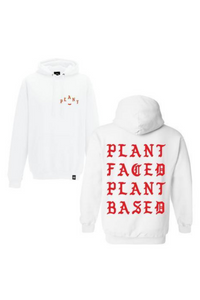 Plant Faced - Pablo Hoody in White & Fire Red