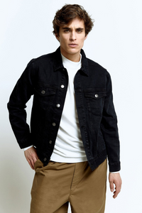 Hoodlamb - Men's Denim Jacket in Washed Black