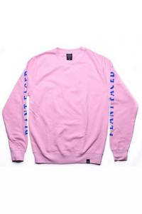 Plant Faced - No Beef Sweater in Baby Pink & Electric Blue