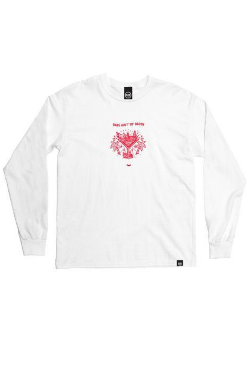 Plant Faced - Babe Ain't Yo Bacon Long Sleeve in White