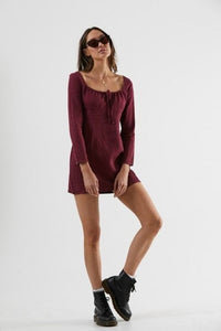 Afends - Ren Hemp Long Sleeve Dress in Port