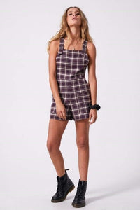 Afends - Nirvana Hemp Playsuit in Mulberry Check