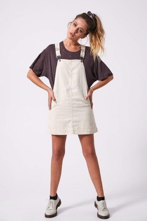 Afends - Mae Hemp Overall Dress in Macadamia
