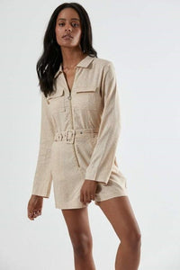 Afends - Sahara Hemp Playsuit in Buttercup